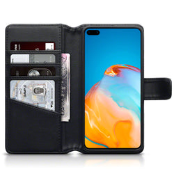 Qubits Huawei P40 Real Leather Wallet Case - Black