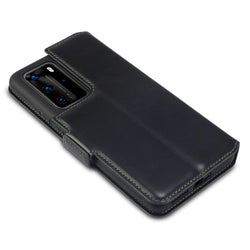 Qubits Huawei P40 Pro Low Profile Genuine Leather Stand Wallet - Black