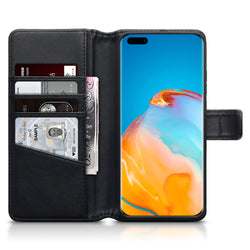 Qubits Huawei P40 Pro Real Leather Wallet Case - Black