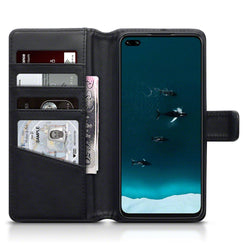 Qubits Huawei Honor V30 Real Leather Wallet Case - Black