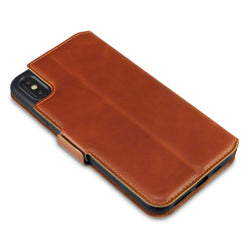 Qubits Apple iPhone XS Max Low Profile Genuine Leather Wallet Case - Cognac