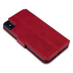 Qubits Apple iPhone XS Max Low Profile Genuine Leather Wallet Case - Red