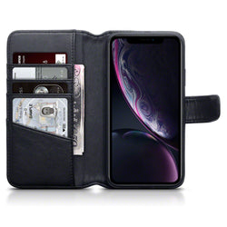 Qubits Apple iPhone XR Real Leather Wallet Case - Black