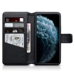 Qubits Apple iPhone 11 Pro Real Leather Wallet Case - Black