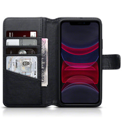 Qubits Apple iPhone 11 Real Leather Wallet Case - Black