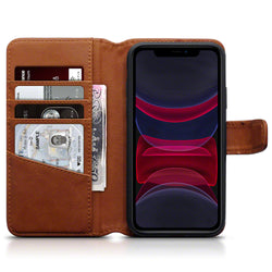 Qubits Apple iPhone 11 Real Leather Wallet Case - Cognac