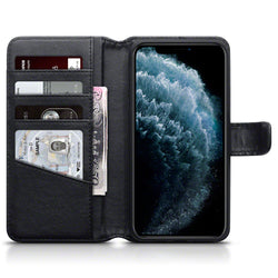 Qubits Apple iPhone 11 Pro Max Real Leather Wallet Case - Black