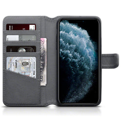 Qubits Apple iPhone 11 Pro Max Real Leather Wallet Case - Grey