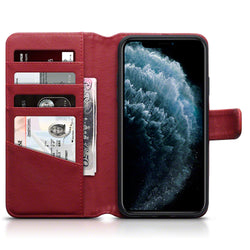 Qubits Apple iPhone 11 Pro Max Real Leather Wallet Case - Red