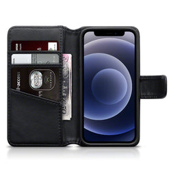 Qubits iPhone 12 Mini Real Leather Wallet Case - Black