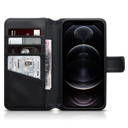 Qubits iPhone 12 / iPhone 12 Pro Real Leather Wallet Case - Black