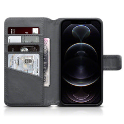 Qubits iPhone 12 / iPhone 12 Pro Real Leather Wallet Case - Grey