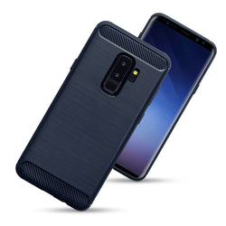 Qubits Samsung Galaxy S9 Plus Carbon Fibre Design TPU Gel Case - Blue (CLEARANCE)