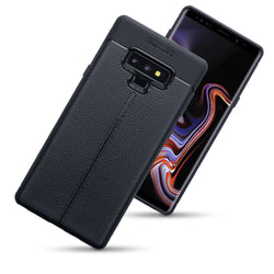 Qubits Samsung Galaxy Note 9 Leather Design TPU Gel Case - Black