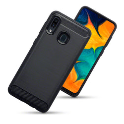 Qubits Samsung Galaxy A30 Carbon Fibre Design TPU Gel Case - Black (CLEARANCE)