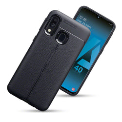 Qubits Samsung Galaxy A40 Leather Texture Design TPU Gel Case - Black