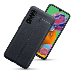 Qubits Samsung Galaxy A90 5G Leather Texture Design TPU Gel Case - Black