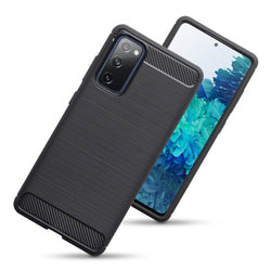 Qubits Samsung Galaxy S20 FE Carbon Fibre Brushed Effect TPU Gel Case - Black