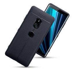 Qubits Sony Xperia XZ3 Leather Design TPU Gel Case - Black