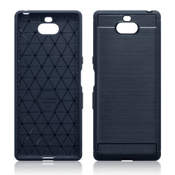 Qubits Sony Xperia 10 Carbon Fibre Design TPU Gel Case - Blue