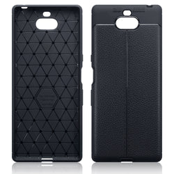 Qubits Sony Xperia 10 Plus Leather Design TPU Gel Case - Black