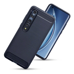 Qubits Xiaomi Mi 10 5G / Xiaomi Mi 10 Pro 5G Carbon Fibre Effect TPU Gel Case - Dark Blue