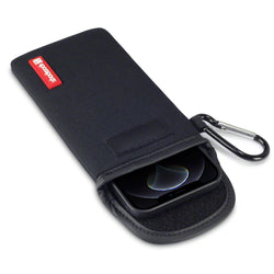 Shocksock iPhone 12 / iPhone 12 Pro Neoprene Pouch with Carabiner - Black
