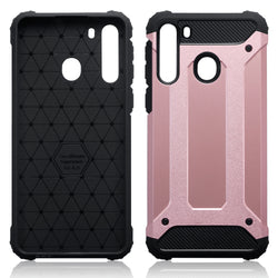 Qubits Samsung Galaxy A21 Double Layer Impact Case - Rose Gold