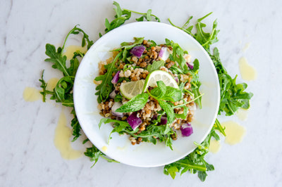 vegan lentil and arugula salad