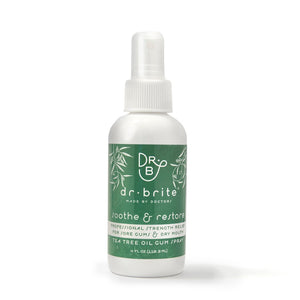 A pocket size bottle of Dr. Brite Vegan, Alcohol-Free, Peppermint Breath Spray with Coconut Oil. For Gum Pain and Canker Sores.
