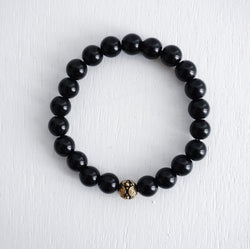 Bali Bead Bracelet with Black Onyx Beads