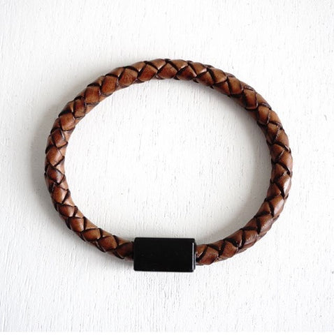 Matte Black Magnetic Clasp No.3 with Genuine Braided Leather