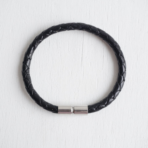 Silver Magnetic Clasp with Genuine Braided Leather