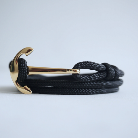 Gold Flat Anchor No.2 Bracelet with Solid Color Paracord Strap