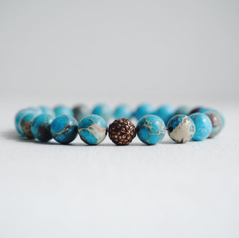 Copper Flower Bracelet with Turquoise howlite beads