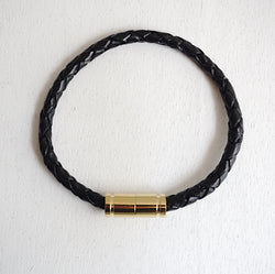 Gold Magnetic Clasp No.1 with Genuine Braided Leather