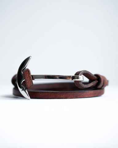 Silver Curved Anchor Bracelet with Genuine Leather Strap