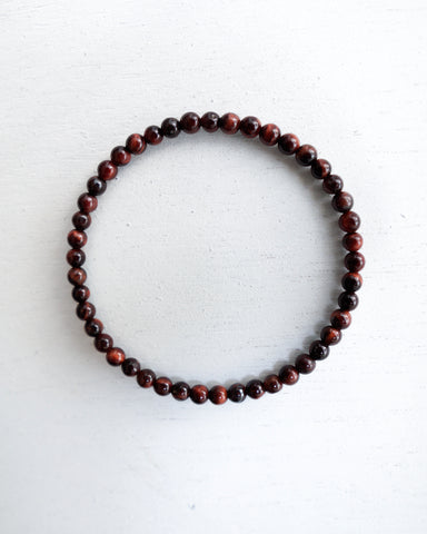 Minimal Red Tiger Eye Bracelet