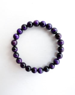 Minimal Purple Tiger Eye Bracelet