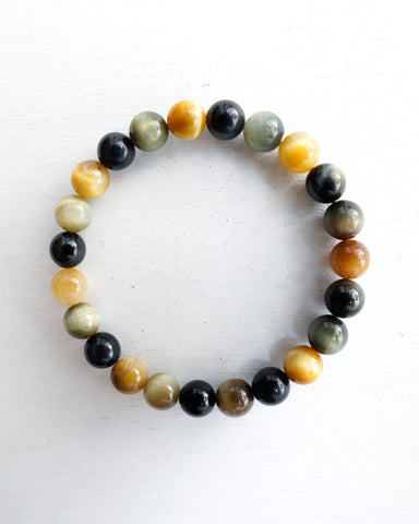 Minimal Gold Blue Tiger Eye Bracelet