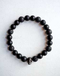 Black Skull Bracelet with All Black Beads