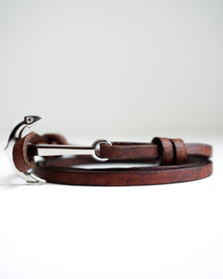 Silver Nautical Anchor No.II Bracelet with Genuine Leather Strap