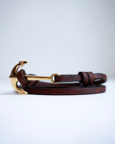 Gold Nautical Anchor No.II Bracelet with Genuine Leather Strap