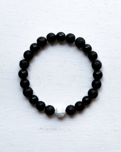Minimal Black Bracelet with White Howlite bead