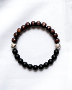 Bali Bead Bracelet with Wood & Black Onyx Beads
