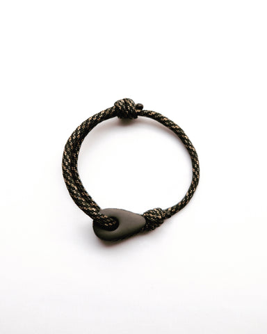 Matte Black Thimble Bracelet with Camo Paracord Strap