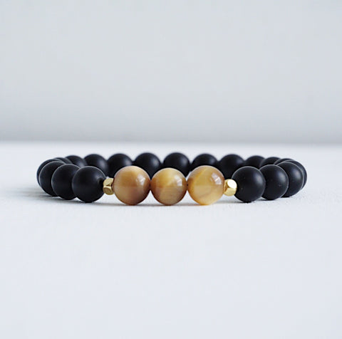 Matte Black Onyx Bracelet with Tiger Eye Beads