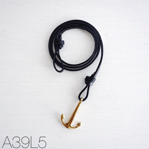 Gold Flat Anchor Bracelet with Genuine Leather Strap