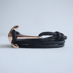 Rose Gold Flat Anchor No.2 Bracelet with Solid Color Paracord Strap