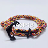 Black Nautical Anchor Bracelet with Multicolor Paracord Strap